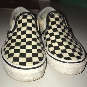 checkerboard vans slip ons